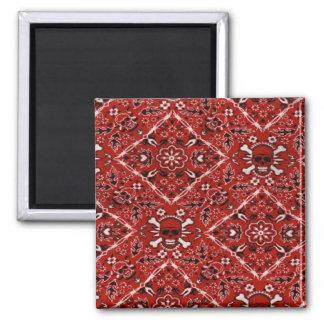 Skull Red Bandana Print Fridge Magnet