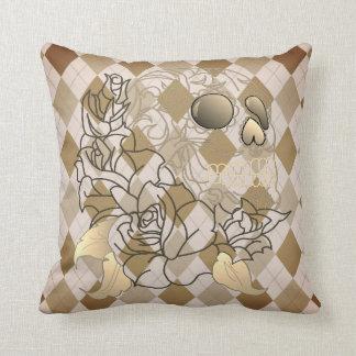 Skull retro argyle print brown yellow decor pillow