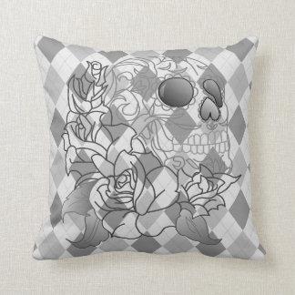 Skull retro argyle print grey white decor pillow