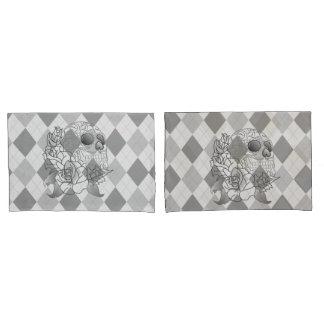 Skull retro argyle print grey white pillow case