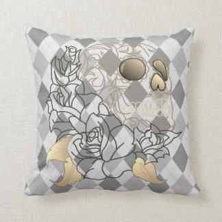 Skull retro argyle yellow grey white decor pillow