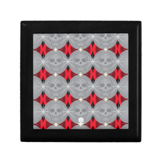 Skull retro circle pattern red and grey small square gift box