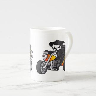 skull ride a big tricycle tea cup