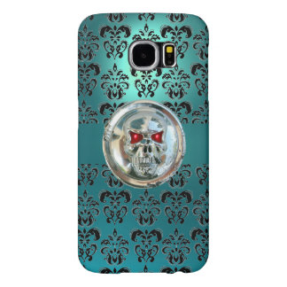 SKULL RIDERS BLACK TEAL BLUE DAMASK FLORAL SAMSUNG GALAXY S6 CASES