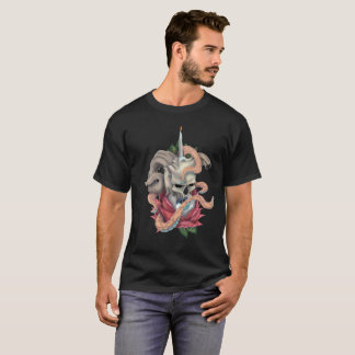 Skull Rose Eyeball Tattoo Design Mens black Tshirt