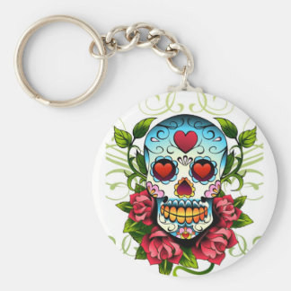 Skull Roses Basic Round Button Key Ring