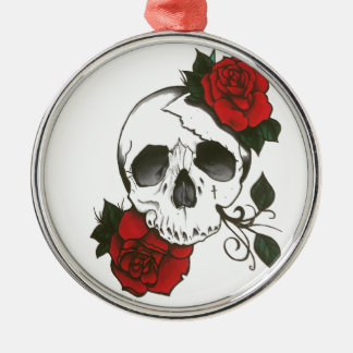 skull roses orament Silver-Colored round decoration