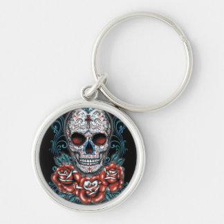 Skull & Roses Round Keychain