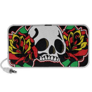 skull + roses laptop speakers