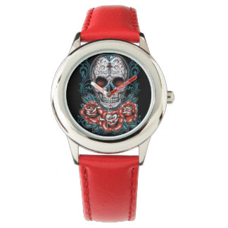 Skull & Roses Stainless Steel Red Watch
