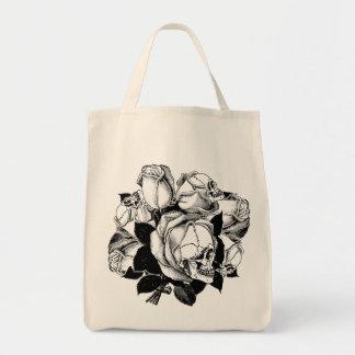 Skull Roses Grocery Tote Bag