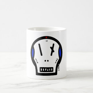 """Skull says: """"love is pain"""" coffee mug"""