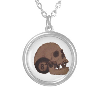 skull silver plated necklace