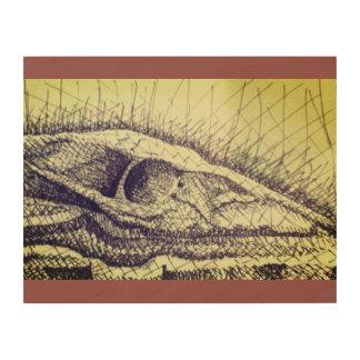 Skull Sketch Wood Print
