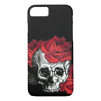 Skull,skulls,Skull and red roses iPhone 7 Case