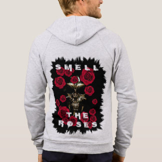 Skull Smell The Roses Fleece Zip Hoodie