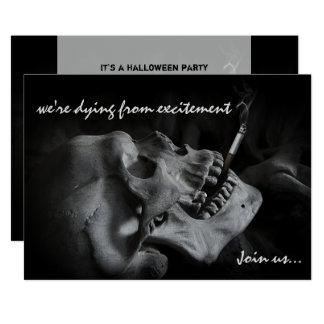 Skull Smoking Cigarette Halloween Party Invitation