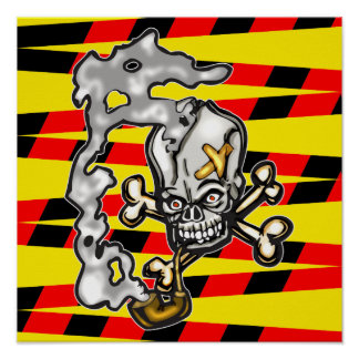 Skull Smoking Pipe Posters