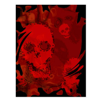 Skull Spectres Red swirl  postcard
