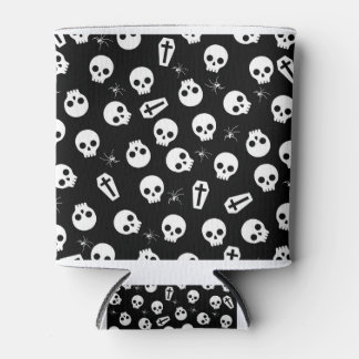 Skull, spider and chest  - Halloween pattern Can Cooler