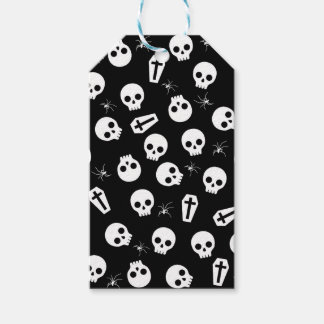 Skull, spider and chest  - Halloween pattern Gift Tags
