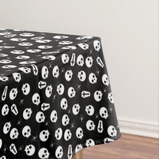 Skull, spider and chest  - Halloween pattern Tablecloth