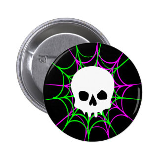 Skull & Spider Webs (Black Pink Green) 6 Cm Round Badge