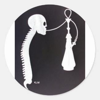 Skull&Spine w/ Hookah Classic Round Sticker