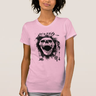 Skull Splatter Ladies Twofer Sheer (Fitted) in Pin Tee Shirts