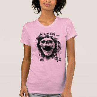 Skull Splatter Ladies Twofer Sheer (Fitted) in Pin Tee Shirts