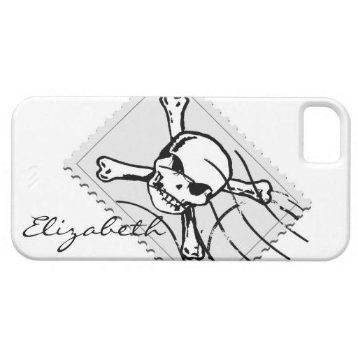 Skull Stamp Custom Monogram #2 iPhone 5 Cases