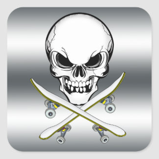 Skull sticker with skateboards silver