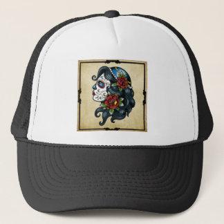 skull tattoo girl trucker hat