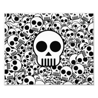 Skull Texture Black White Surface Photo Print