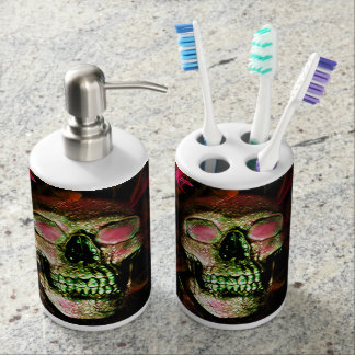 Skull Toothbrush Bathroom Set by Artful Oasis