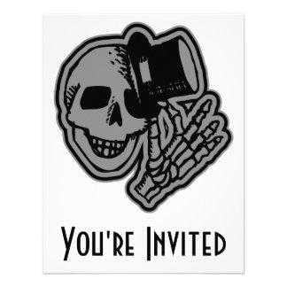 Skull Top Hat Gentleman Grey Personalized Invitations