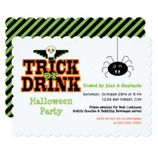 Skull Trick or Drink Halloween Party Invitation