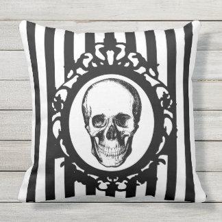 Skull Victorian Cameo Black & White Stripes Print Outdoor Cushion