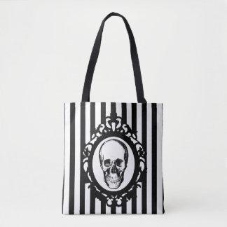 Skull Victorian Cameo Black & White Stripes Print Tote Bag