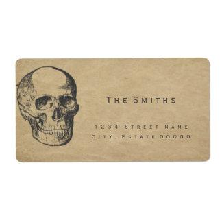 Skull vintage paper address label