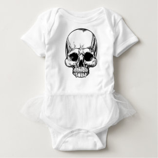 Skull Vintage Retro Woodcut Etched Engraved Style Baby Bodysuit