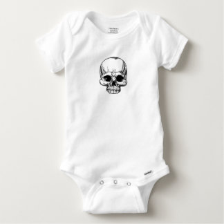 Skull Vintage Retro Woodcut Etched Engraved Style Baby Onesie