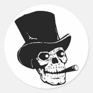 Skull w/ Top Hat Classic Round Sticker