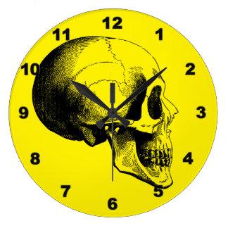 Skull Wall Clock,Yellow Large Clock