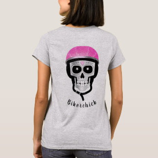 Skull Wearing a Pink Bike or Motorbike Helmet T-Shirt