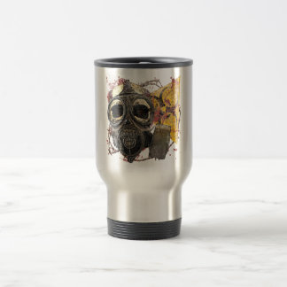 Skull wearing gasmask travel mug