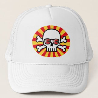Skull wearing red sunglasses trucker hat