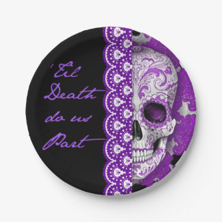 """Skull Wedding Paper Plate 7"""" 7 Inch Paper Plate"""