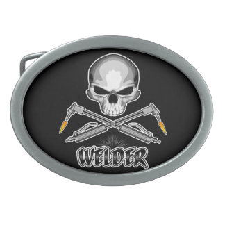 Skull Welder and Crossed Torches Belt Buckle