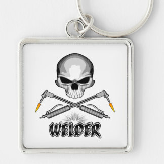 Skull Welder and Crossed Torches Key Ring